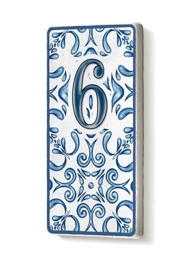 The Mia Kapı Numarası Mavi Beyaz 6 Mavi